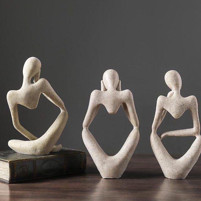 VILEAD Nordic Abasract Thinker Statue Resin Figurine Office Home  Decoration Desktop Decor Handmade Crafts Sculpture Modern Art 3