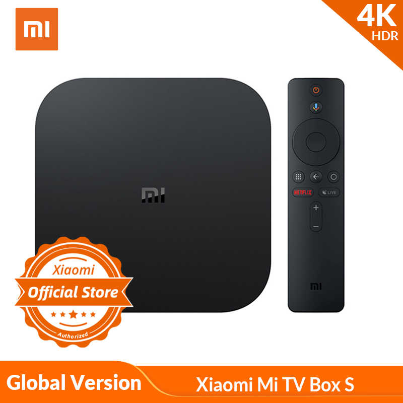 Globale Version Xiaomi mi TV Box S 4K HDR Android TV Strea mi ng Media Player und Google assistent Fernbedienung Smart TV mi Box S