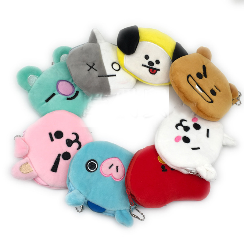 New cartoon anime surrounding plush purse zipper purse wallet children's clothing girls gifts image