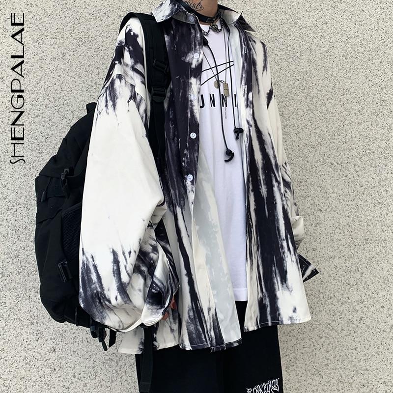SHENGPALAE 2020 новая весенняя одежда Ins уличная Модная Повседневная рубашка с принтом Свободная блузка с длинными рукавами и отложным воротником 5D287|Блузки|   | АлиЭкспресс
