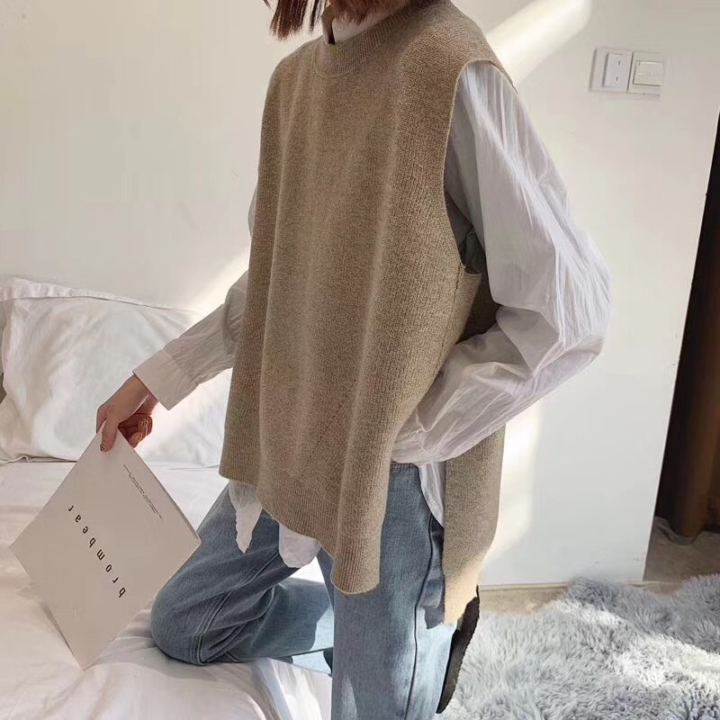 Loose Lazy Knitted Cashmere Wool Vest Vest Female Round Neck Sleeveless Sweater Solid Color Comfortable Soft New Product Hot
