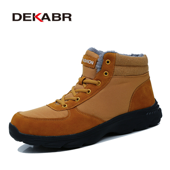 DEKABR Cow Suede Men Boots Autumn Winter Ankle Boots Fashion Footwear Lace Up Shoes Men High Quality Working Boots Size 39~46