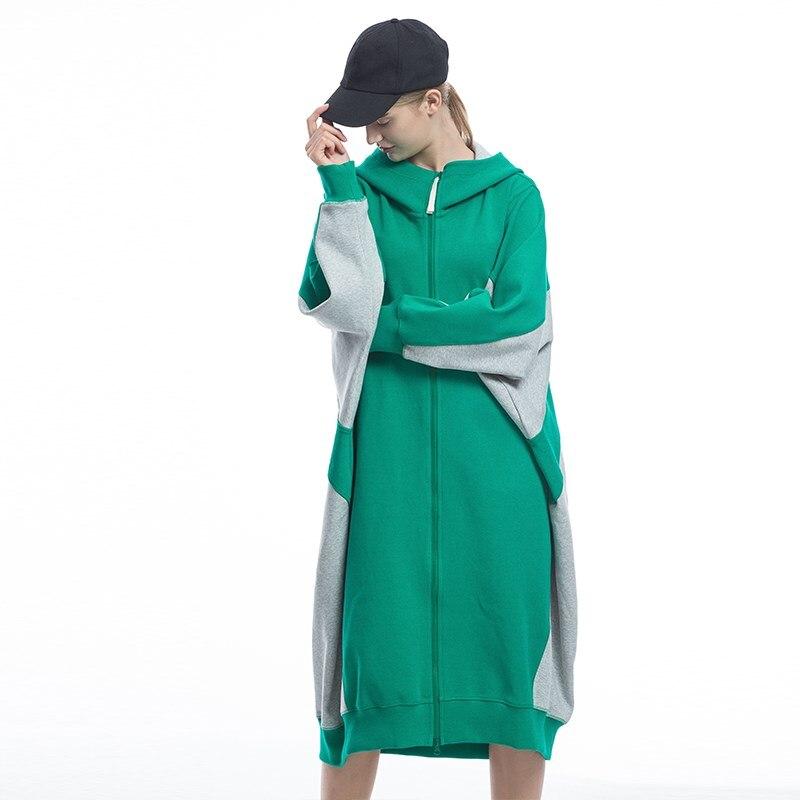 Женская Весенняя Осенняя Новинка 2019 Повседневная ультра свободная длинная Трикотажная хлопковая толстовка с капюшоном женские толстовки оверсайз пальто - 5