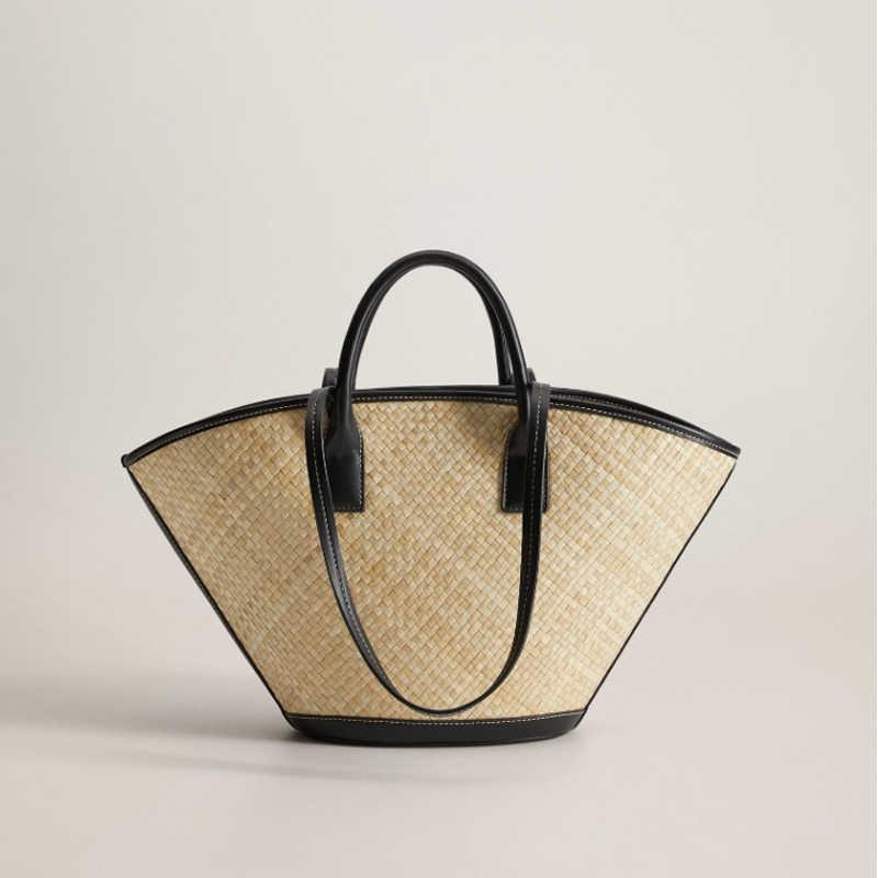 Women Rattan Handbags Summer Beach Straw Bags Wicker Woven Large Tote Bucket Bag