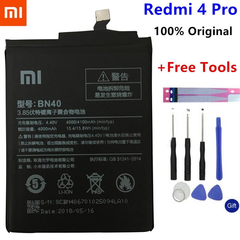 Xiaomi originais Redmi BN40 4 Pro Bateria 4100mAh para Xiaomi Redmi 4 Pro Prime 3G RAM 32G ROM Edição Alta Qualidade BN40 Bateria