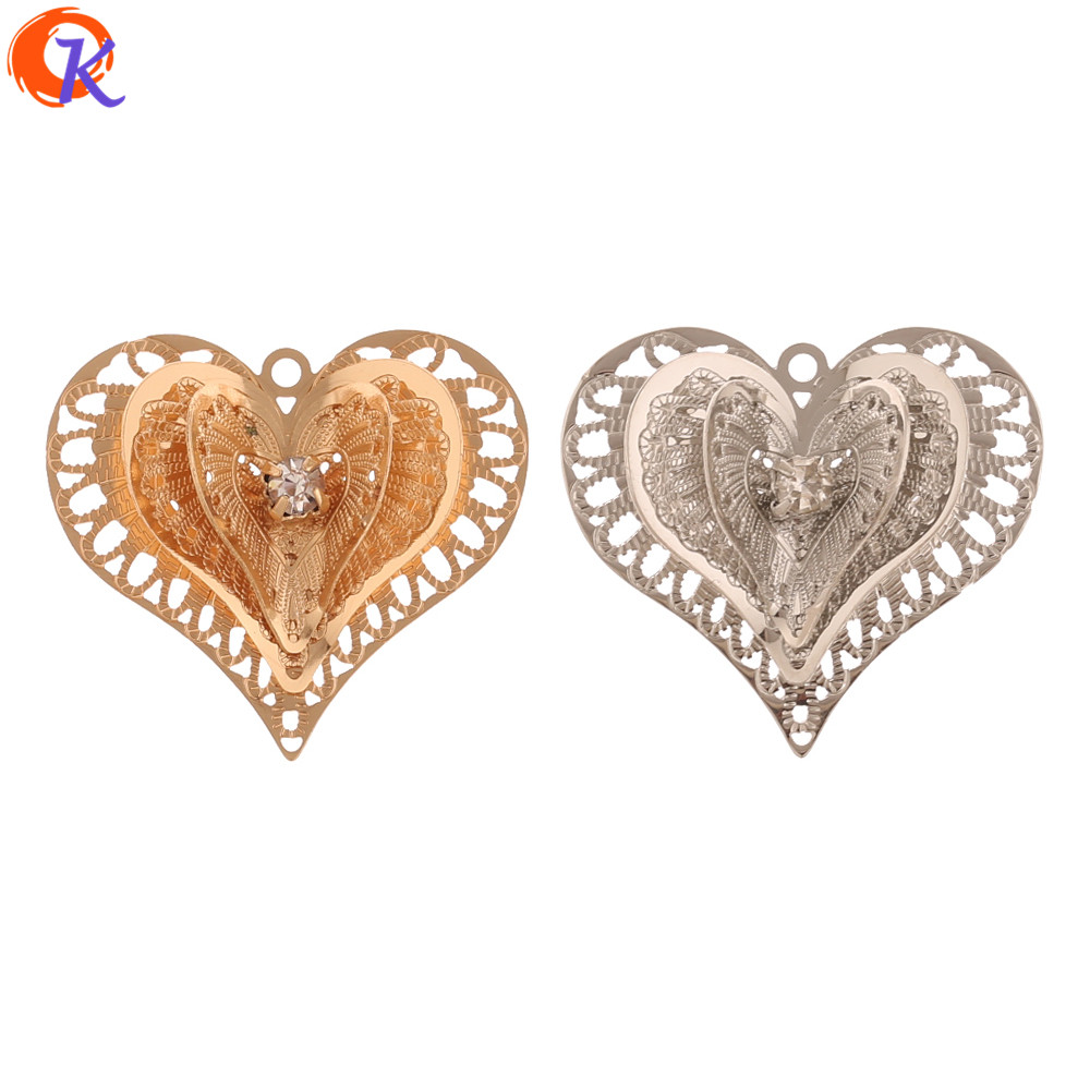 Cordial Design 50Pcs 23*26MM Jewelry Accessories/DIY Making/Earrings Charms/Heart Shape/Sheet Copper/Hand Made/Earring Findings