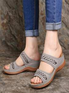 Women's Shoes Slippers Wedges Plus-Size Summer New Beach Casual with And Soft-Bottom
