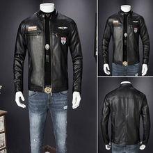 Men's Fashion Jackets Collar Slim Motorcycle Faux Leather Jacket Coat Outwear Plus Size M-3XL