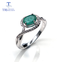 natural gemstone oval 5*7mm cut emerald rings sterling silver 925 simple design fine jewelry for woman special birthday gift