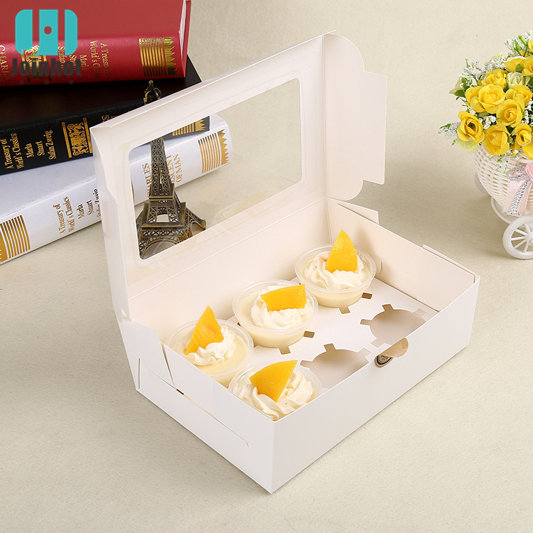 5 Pcs Cupcake Box With Window White  Kraft Paper Boxes Dessert Mousse Box 6Cup Cake Holders Wholesalers Customized
