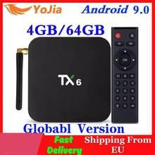 Tx6 smart tv caixa android 9.0 allwinner h6 4gb ram 64gb rom 32g 4k 2.4g/5ghz duplo wifi 2g16g mini media player
