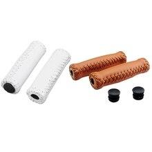 2 пары винтажных кожаных велосипедных грипов, треккинговые Рули, покрытие, цвет: белый и коричневый