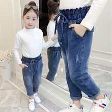 Girl Jeans New Fashion Kids Clothes Fall Soft Denim Harem Pants Long Bow Belt Trousers Elastic Waist Blue