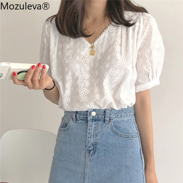 Mozuleva 2020 Women Summer Blouses Shirts Casual Lantern Sleeve Vintage Lace Up Loose Hollow Out Embroidery Tops T Shirts New