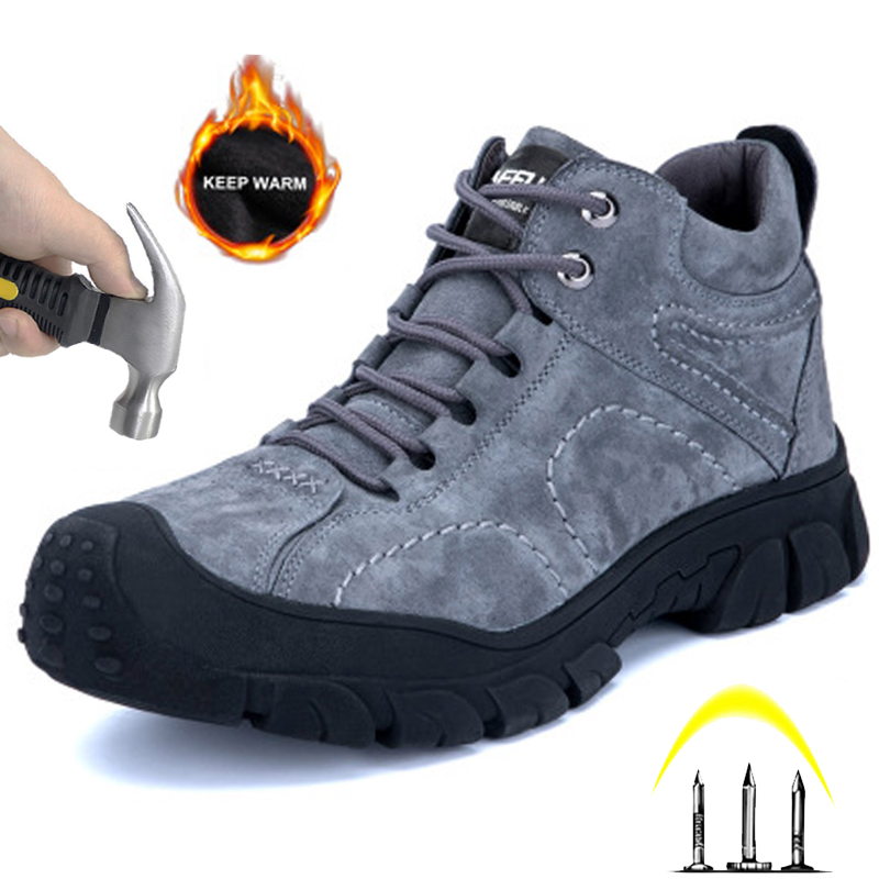 High Quality Work Shoes  Anti-smashing Stab Safety Shoes Winter Plus Velvet Waterproof Men's Shoes Indestructible Men's Boots