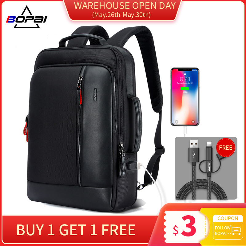BOPAI Laptop Backpack Enlarge Anti-Theft Teenager Waterproof School Men