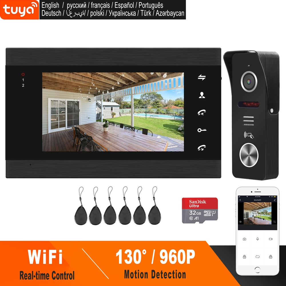 HomeFong Smart WiFi Video Doorbell 7 Inch Wireless Door Intercom With Motion Sensor And  Real Time Control Access Control System