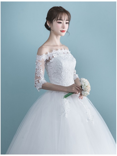 LAMYA Vestidos Boat Neck Bride Married Dress Long Sleeve Simple Large Size Ball Gowns Tulle Wedding Dresses De Novia New Lace up 5