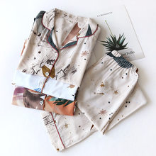 Primavera/Verão 2021 Novo 100% Viscose calças de manga comprida senhoras pijamas terno estilo simples longo pijamas feminino ser
