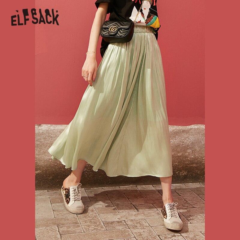 ELFSACK Black Solid Bright Casual Women Silkly Flare Skirts 2020 Spring New Elegant Green Elastic Waist Korean Ladies Midi Skirt