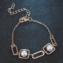 New Trendy Pearl Bracelets For Women Gold Color Round Charm Bracelets Chain Bangles 2019 Fashion Jewelry Christmas Gifts
