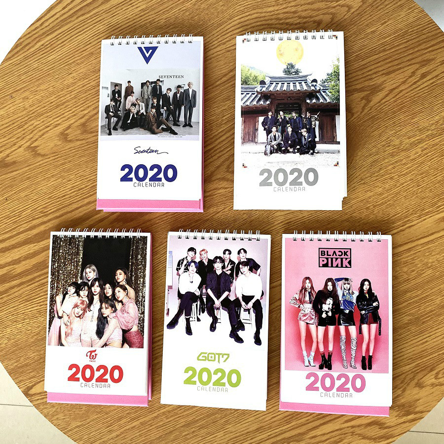 2020 New Year Table Calendar Blackpink Twice Got7 TXT Album Photo Printing Calendar Bangtan Boys Jungkook Jimin Suga V Kpop