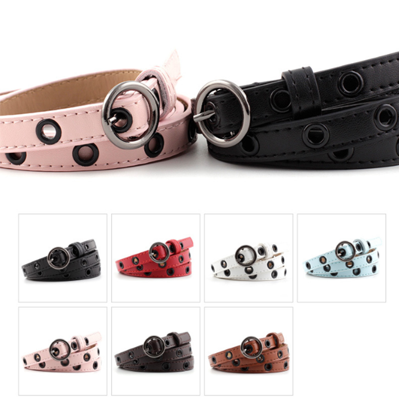 Ice Cream Thin Belt Fashion Decorative Dress With Small Sweater Belt Women's Round Black Hollow Buckle Belts For Girl