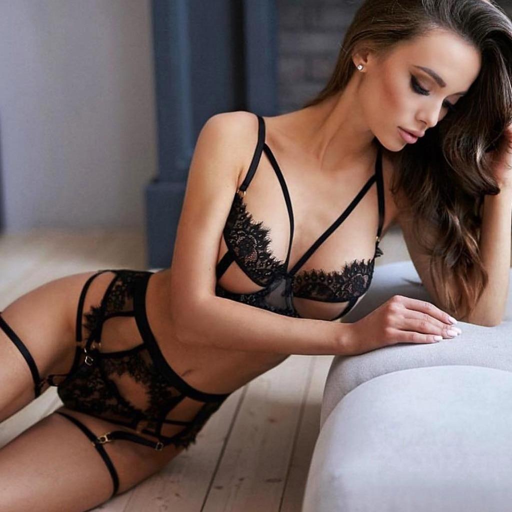 High Quality Sexy Lingerie Flower Lace Lenceria Lady Temptation Erotic Bra+Garter+Briefs Set Babydoll Hollow Underwear Sleepwear