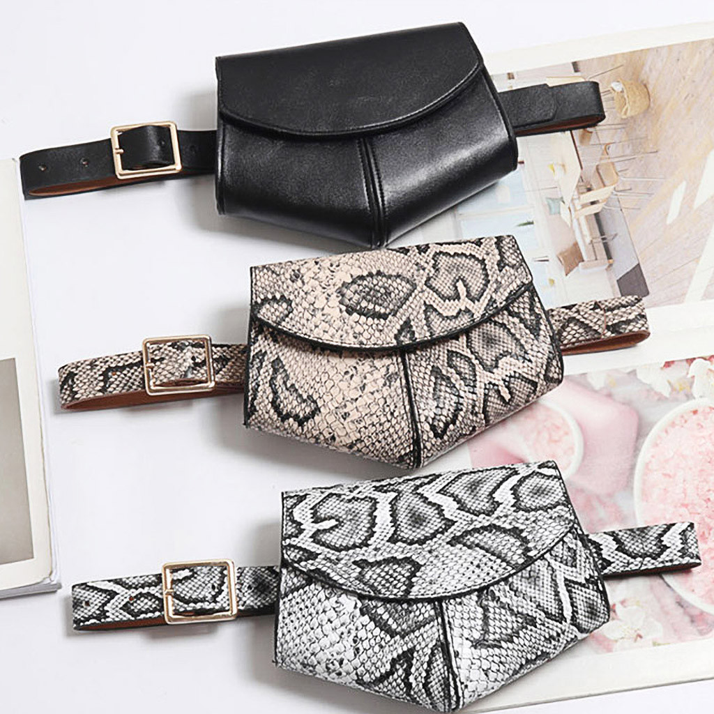 Snake Waist Bag Women 2019 HOT Selling Waist Pack Serpentine Fanny Pack Leather Талия пакет Fashion Trend Snake Skin Waist Belt