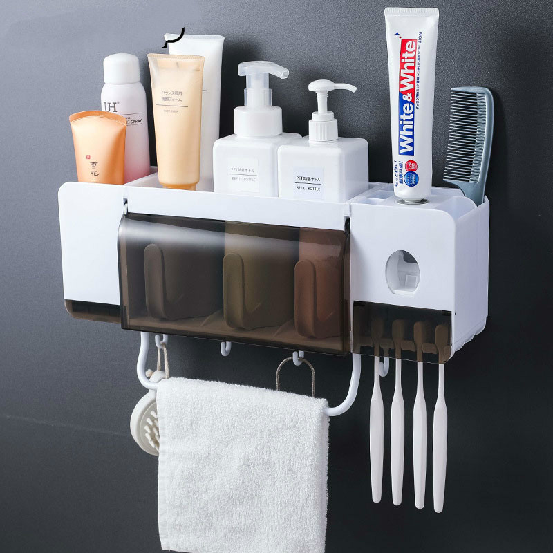 toothbrush holder toothpaste squeezer dispenser bathroom accessories sets 5 pcs storage box case household items