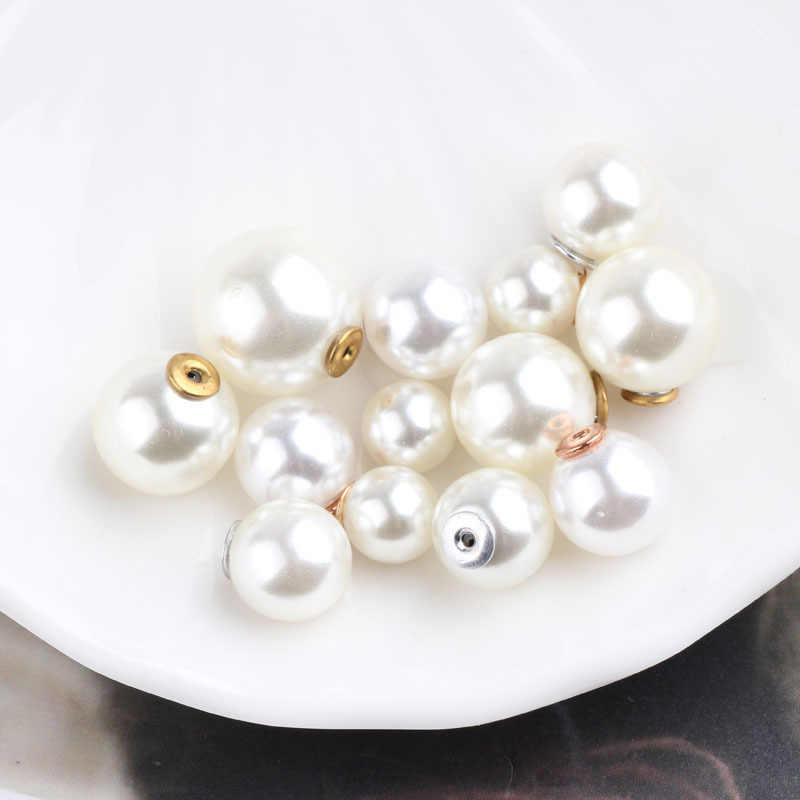 10 piezas blanco marfil ABS perlas encanto Stud pendiente tapones oído puesto loco conectar pendiente Base para joyería DIY