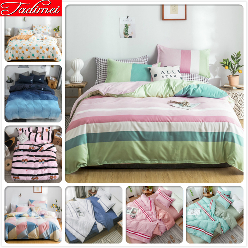Colorful Stripe Fashion Duvet Cover Bedspreads Sheet Pillowcase Bedding Set Adult Kids Child Bed Linen Single Queen King Size 2m