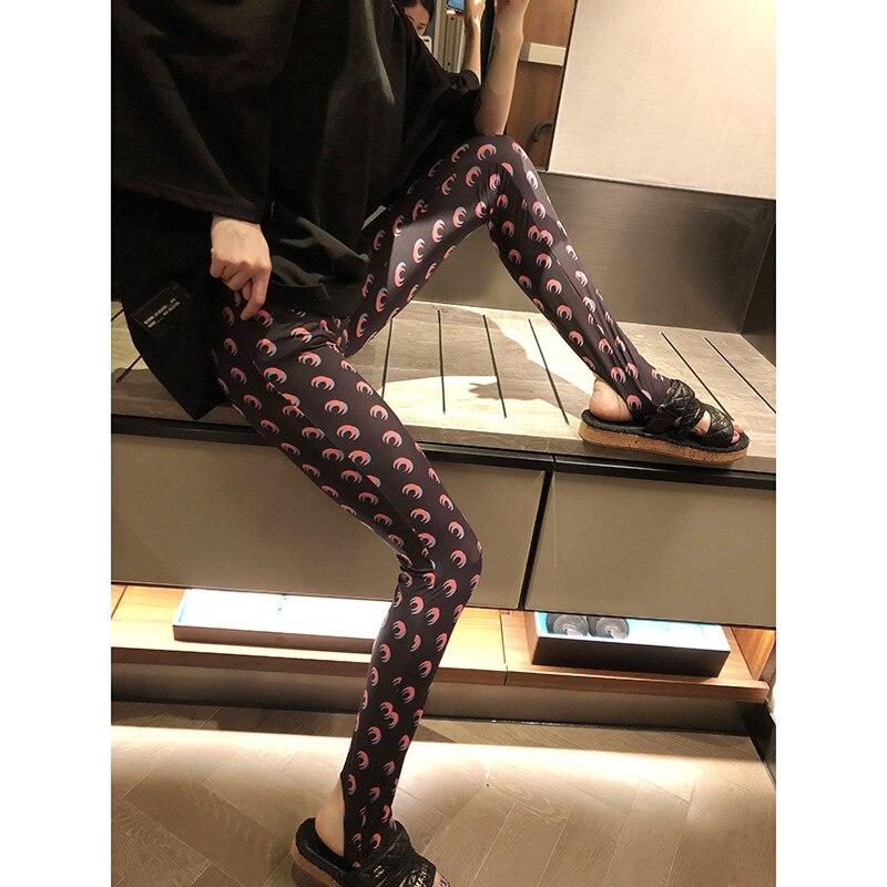 Autumn Fashion Classic Trendy Brand Luxry Design Winter Moon Print Thin Stretch Leggings for Women Elastic Force Show Thin  M2