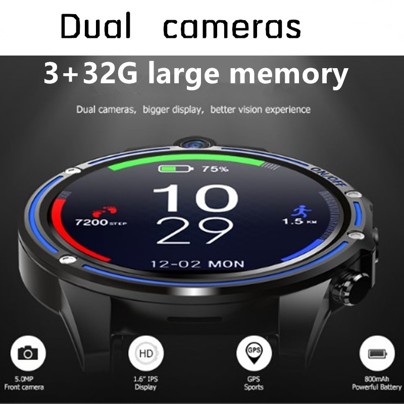 1.6 inch 4G internet WiFi GPS HD smart watch mobile phone motion heart rate wristband 2 camera smartwatc SIM <font><b>smartphone</b></font> watches image