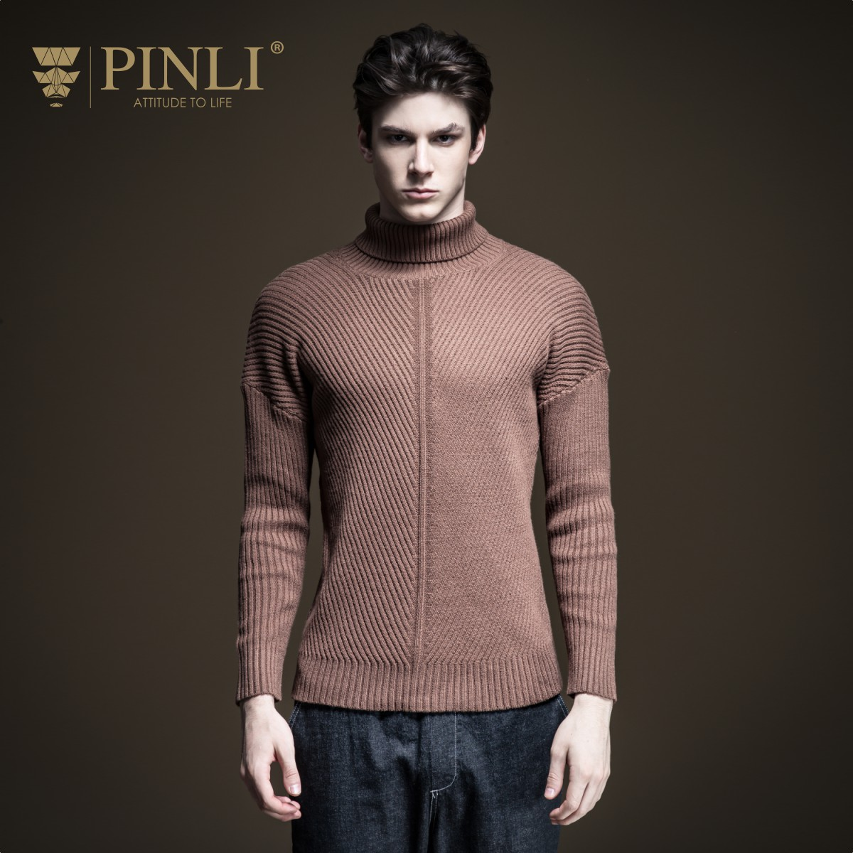 Pinli 2020 Winter New Discount Clearance Turtleneck Solid Pullovers Slim Fashion Warm Casual Men Long Sleeve Sweater Hot Sale