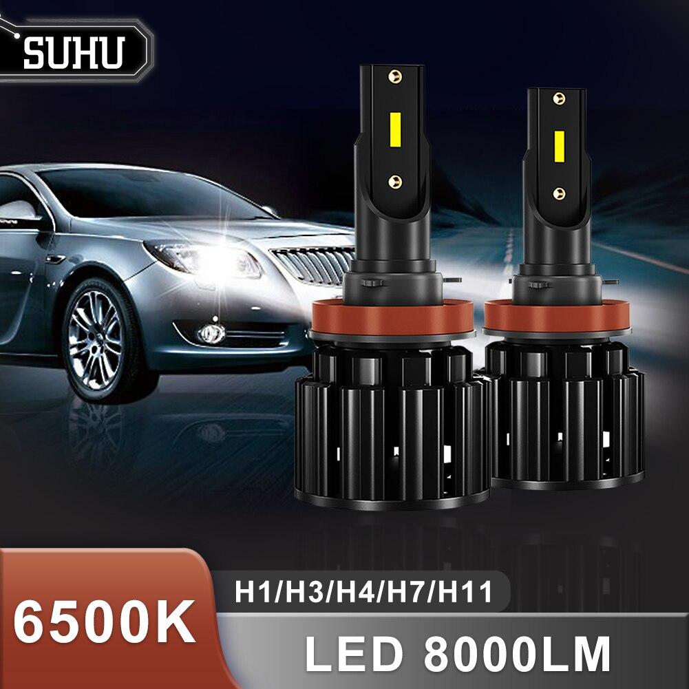 SUHU 1 Paar LED Auto Scheinwerfer Lampen 9-30V H1/H3/H4/H7/H11 6500K 8000LM Hohe Helligkeit Wasserdichte Mini Turbo LED Lampe Nebel Lichter