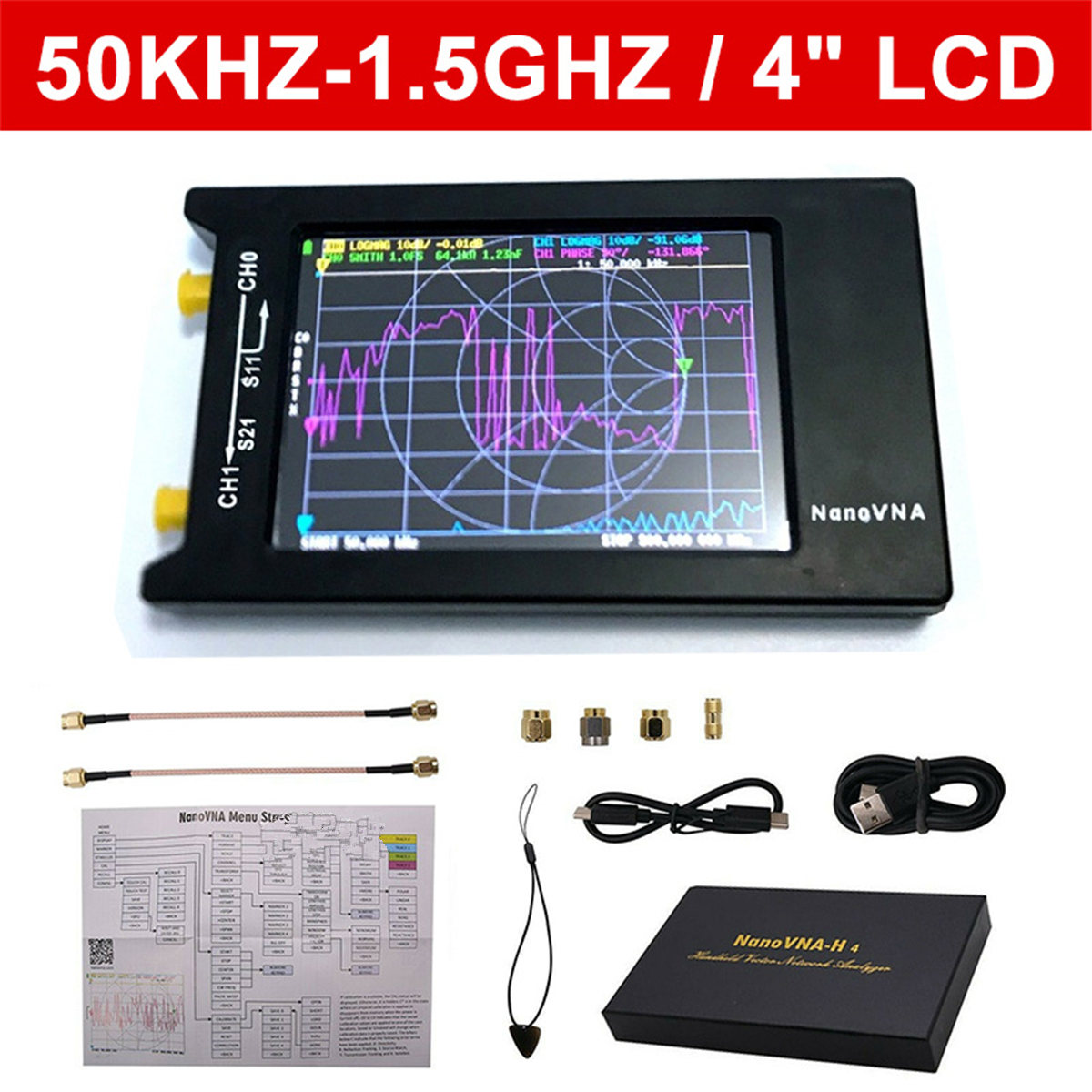 For NanoVNA-H4 4 Inch LCD VNA HF VHF UHF UV Vector Network Analyzer 50KHz-1.5GHz Antenna Analyzer Built-in Battery