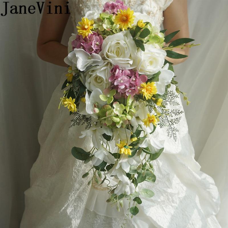 JaneVini Artificial White Bridal Bouquet Waterfall Lace Bride Silk Flowers Outside Bride Wedding Bouquet De Fleurs Blanche 2020