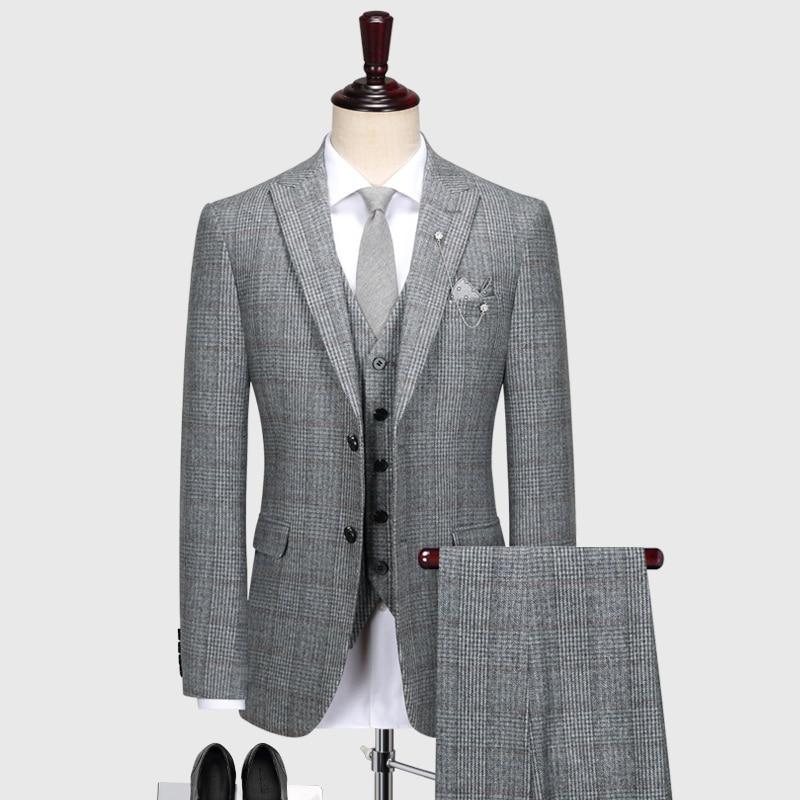 60% Wool Mens Suit Set Grey Plaid Autumn Winter Thicken Suits Set Blazer Pant Plus Size Man Wedding Groom Business Wear Gray 58