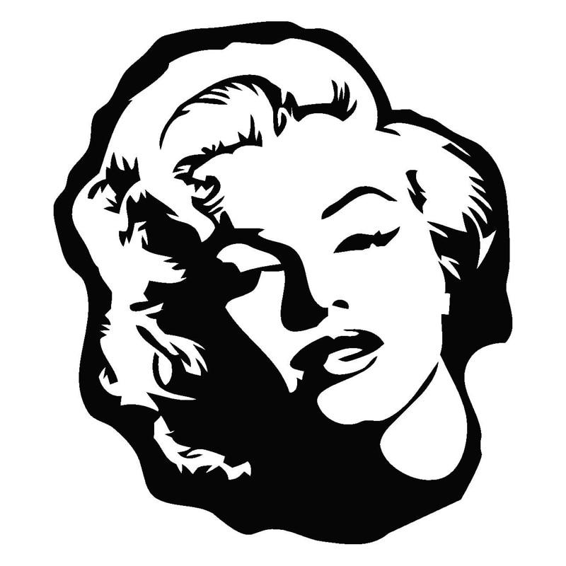 Car Stickers Marilyn Monroe Cartoon Car Shape Decoration Accessories PVC Car Stickers Waterproof Sunscreen Black/white,17cm*15cm