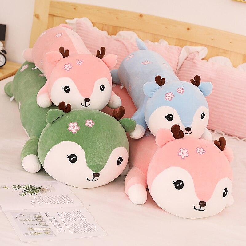 1pc 80/100CM kawaii Super Soft Deer Plush Toys Long Lying Stuffed Animal Sika Deer Sleeping Cushion Children Girls Birthday Gift