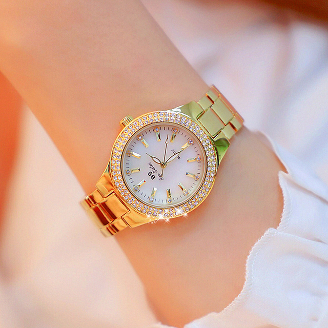 2019 Luxury Brand lady Crystal Watch Women Dress Watch Fashion Rose Gold Quartz Watches Female Stainless Steel Wristwatches 3