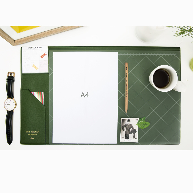 Cute new South Korea A4 large PU leather office school desk pad gift stationery supplies,fine student desk organizer pad ,4color