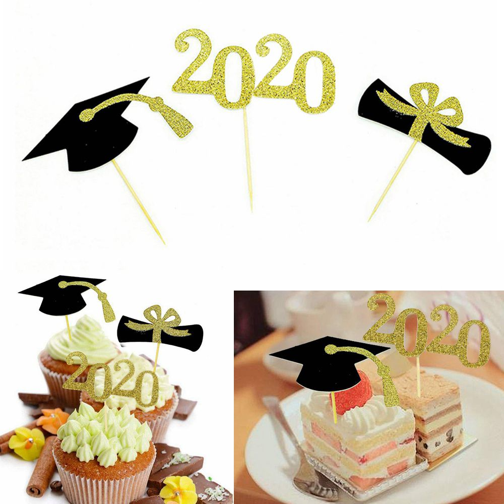 48pcs 2020 New Birthday Graduation Diploma Cake Decoration Party Supplies Booth Card Insert Props