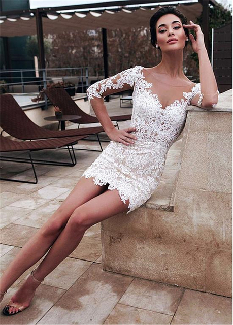Marvelous Jewel Neckline 2 In 1 Wedding Dresses With Detachable Skirt Lace Appliques 3/4 Sleeves Two Pieces Bridal Gowns 2021 4