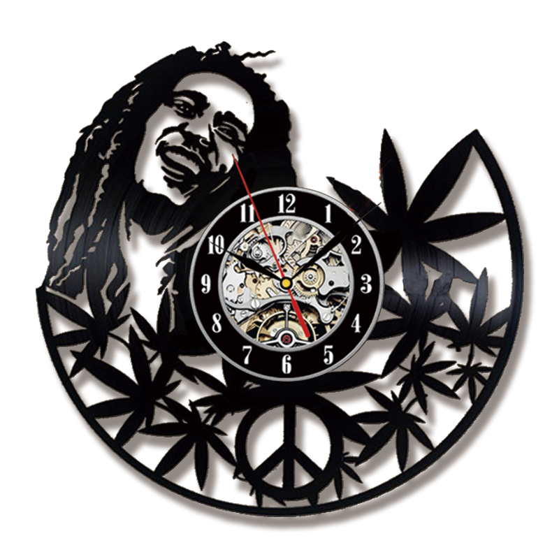 Bob Marley Wall Clock Modern Design Music Theme Classic Vintage Vinyl Record Clocks Wall Watch Home Decor Silent 12 inch image