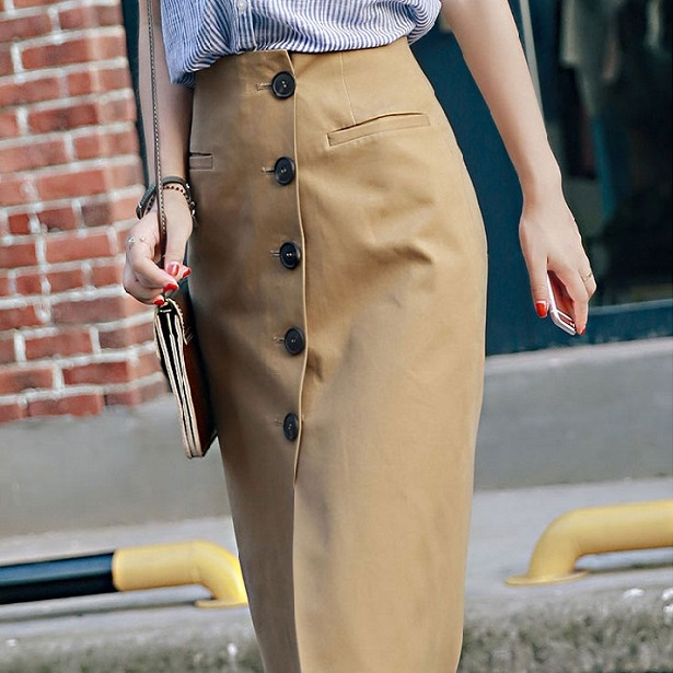 Front Single-breasted Skirt Long Hip Pack Pencil Style Split 2019 Knee-length OL Jupe New Spring And Autumn Female Skirts jupe longue d hiver