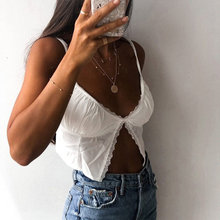 Women Single Button Ruched Camisole Female Cropped V-neck Sexy Lace Camisoles Casual 2020 Summer Sexy Fashion Crop Tops(China)
