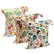 Double Zipper Diaper Bag Reusable Waterproof Fashion Prints Wet Dry Pocket Cloth Handle Wetbag Storage