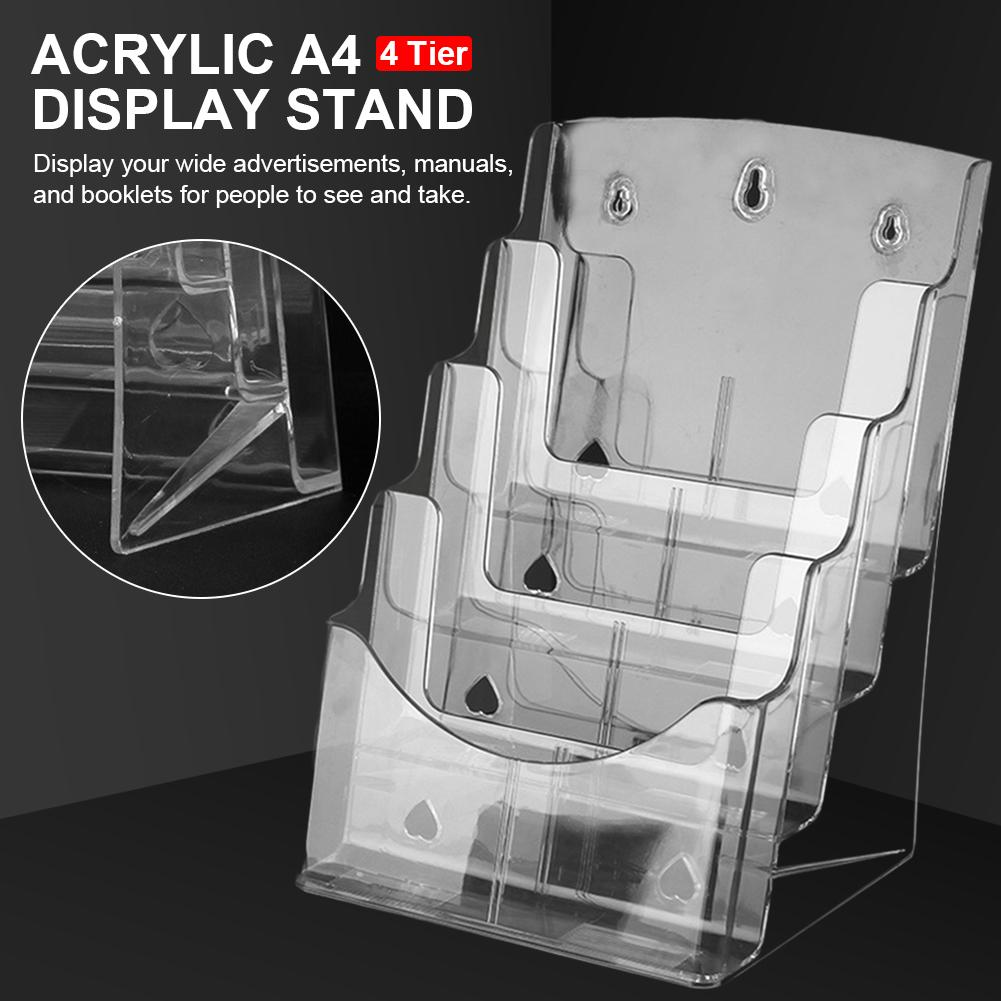 Acrylic A4 File Display Clear Storage Box Office Storage A4 Single Layer Desktop File Sorter Pocket Booklet And Brochure Holder